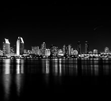 San Diego skyline in black and white. by ioana dogan
