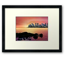 Pink Skies and the City Framed Print