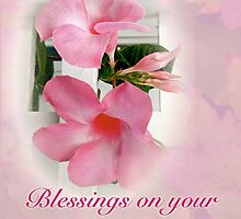 Wedding Blessings Card - Pink Mandevilla Vine by MotherNature