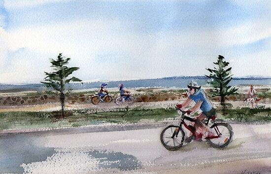Pedaling - Altona Beach by Karin Zeller