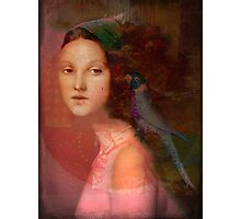Girl with parrot Photographic Print