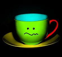 Funny Wall Art - Confused Colourful Teacup by Natalie Kinnear