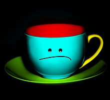 Funny Wall Art - Peeved Colourful Teacup by Natalie Kinnear
