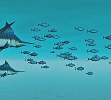 Two Blue Marlin  by Walter Colvin
