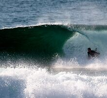 Body Boarder gets slotted, LA Sydney's NTH BEACHES by Andrew  MCKENZIE