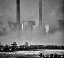 Ferrybridge Shrouded in Steam by Nigel Butterfield