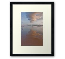 Reflection of clouds in the sand at Seminyak Beach, Bali, Indonesia Framed Print