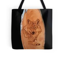 Pyrography of a Wolf Tote Bag