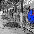 Brussels Wall, Trees, Graffiti by Graham Kidd