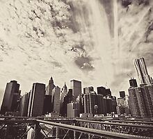 From the Heart of the Brooklyn Bridge - The New York City Skyline by Vivienne Gucwa