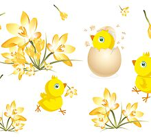 Easter design with little chicks and crocus flowers by schtroumpf2510