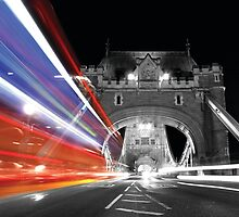 Black and White Tower Bridge with colour London Bus light trail by rjlaker