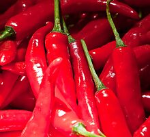 Red hot chilies for sale at the market in Amlapura in Bali, Indonesia by Michael Brewer