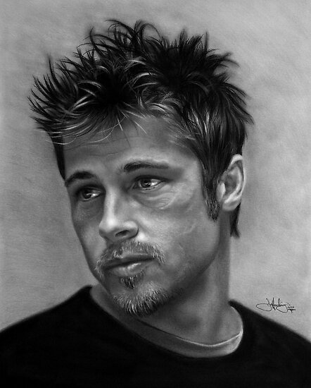 Brad Pitt drawing by John Harding