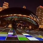 Canted Angle photo of the Luminous light show by Chicago's Bean by Sven Brogren