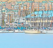 Docked Sail Boats by HanieBCreations
