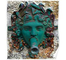 Photo: Old Fountain Water Spout Looking Like a Lady Mask Poster