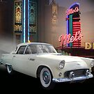 White Thunderbird Classic car 50&#x27;s background by Irisangel