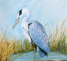 Blue Heron - Acrylic Painting on Canvas by Loreen Finn