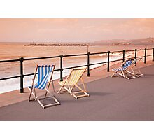 Deck Chairs on Sidmouth Esplanade Photographic Print
