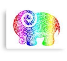 Rainbow Elephant Doodle Canvas Print