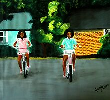Girls riding bicycles by Sowmya Kapula