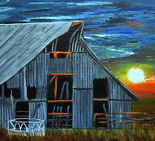Sunset behind the old barn by maggie326