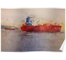 Freighters, watercolor on paper Poster