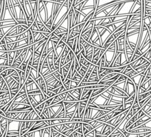 Black and white tangled wires Sticker