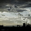 Silver Steam Rising - Port Talbot Skyline by digihill