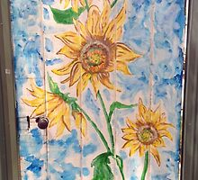 Sunflowers on old wooden Door by jonolaf
