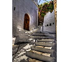 White Stone Steps - Lindos, Rhodes Photographic Print