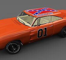 General Lee Car Dukes of Hazzard 2969 Dodge Charger Side by DW3DMAYA