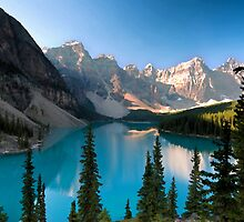 Moraine Lake in watercolor by Eivor Kuchta