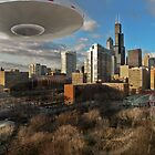 Ufo Fly by in  downtown Chicago by gwarn