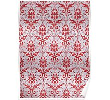 Red and White Damask Pattern Poster
