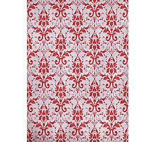 Red and White Damask Pattern Photographic Print