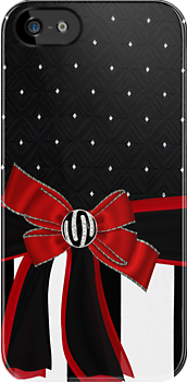 Black White & Red Ribbon Bow Rhinestones Iphone or Ipod case by jvinnyg