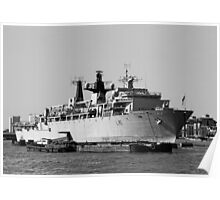 Warship HMS Bulwark B&W Poster