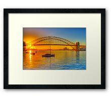 Sydney Harbour bridge - gold to blue Framed Print