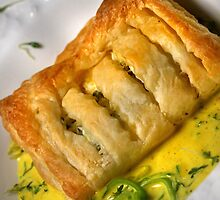 Goat-Cheese-Mille feuilles and Riesling-Saffron-Cress-Sauce by SmoothBreeze7