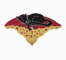 Black Cat on a Celtic Cushion Tee by ingridthecrafty