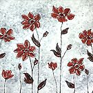 Sarah&#x27;s Flowers - simplicity &amp; a pop of red. by Lisa Frances Judd ~ Original Australian Art