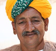 Turban of an old man in Jaipur Rajastan by Linga Reddy Anuga