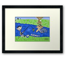 Binary Options Caricature - President Obama, President Ahmedinajad and the Strait of Hormuz Framed Print