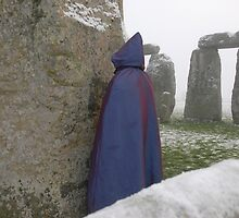 stonehenge and purple clad druid by David Paul  Wilson