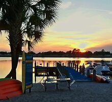 ORANGE LAKE SUNSET at the beach by Diane Trummer Sullivan