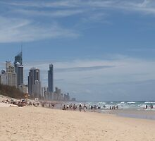 Summer on the Beach Surfers Paradise Queensland by Virginia  McGowan