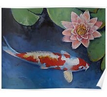 Koi and Water Lily Poster