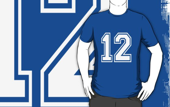 Football jersey number 12 for sports player by nadil
